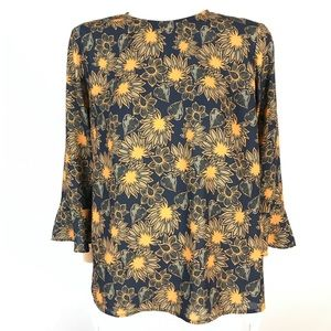Icone floral bell sleeve blouse